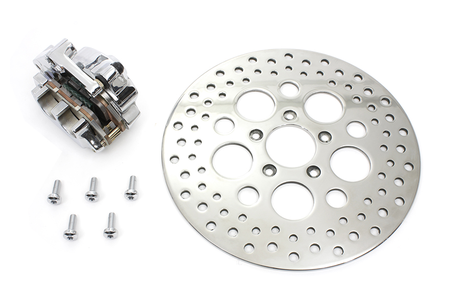 Chrome Front 4 Piston Caliper and 11-1/2 Disc Kit for XL 2004-UP