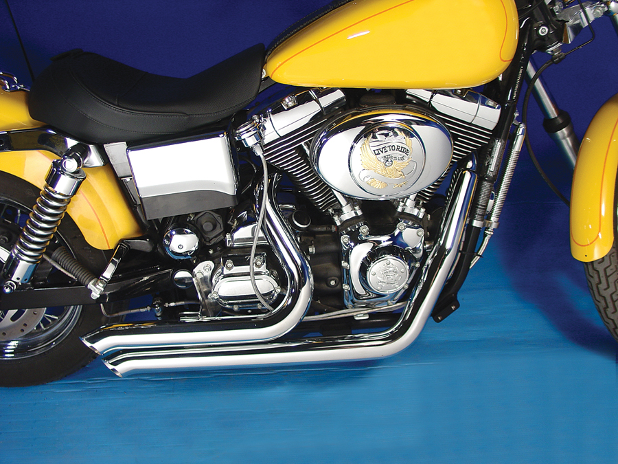 Chrome 2 1/4 in. Sweeper Drag Pipes Set 1995-2005 Harley FXD