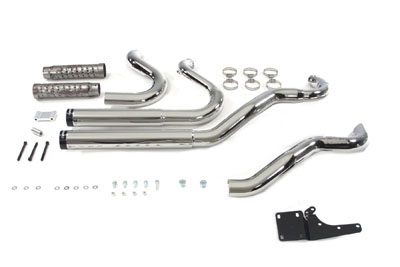Chrome Rinehart 2 - 2 Exhaust System Staggered Style FXD 2006-UP