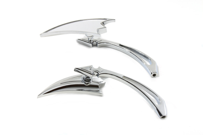 Chrome Crescent Teardrop Mirror Set with Spear Billet Stems