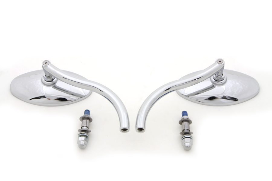 Chrome Radii Oval Mirrors Set w/ Round Stems for Harley Custom