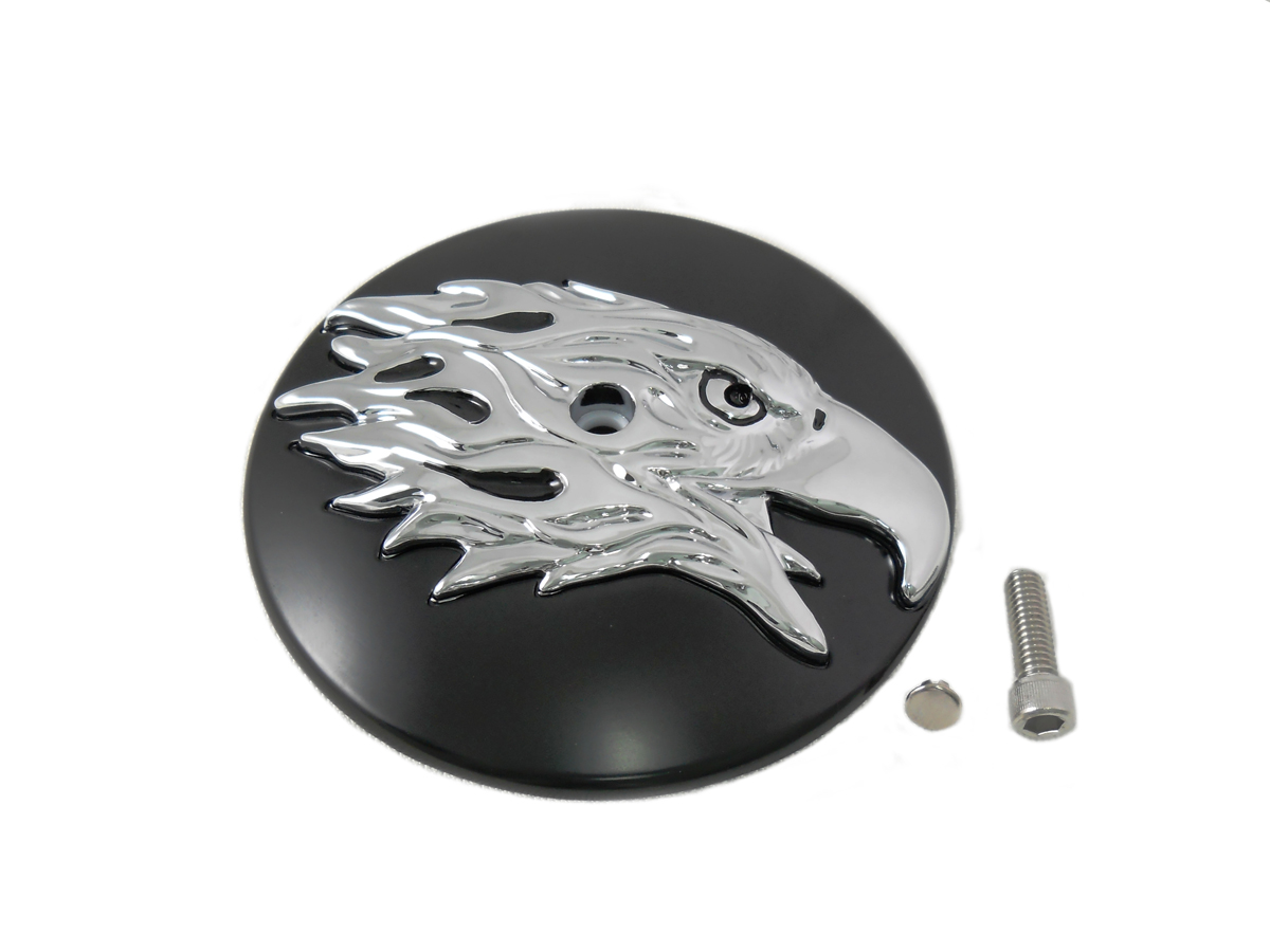 Black Round Eagle Air Cleaner Chrome Cover Insert 1999-UP BT
