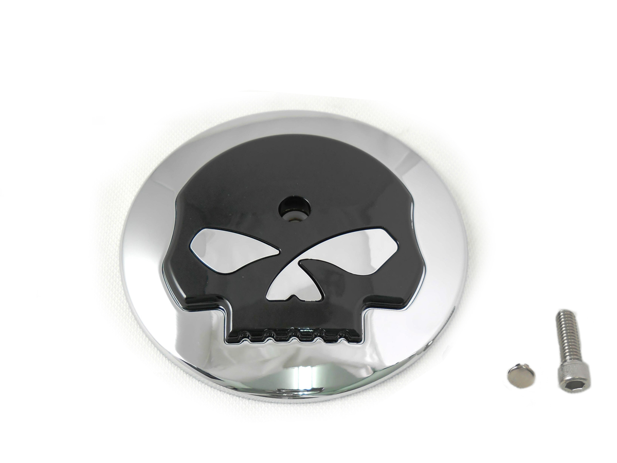 Black Skull Air Cleaner Chrome Cover Insert for 1999-UP Big Twins