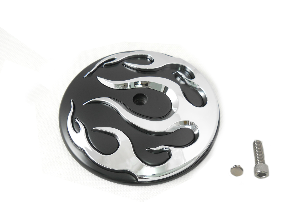 Chrome Flame Air Cleaner Black Cover Insert for 1999-UP Big Twins