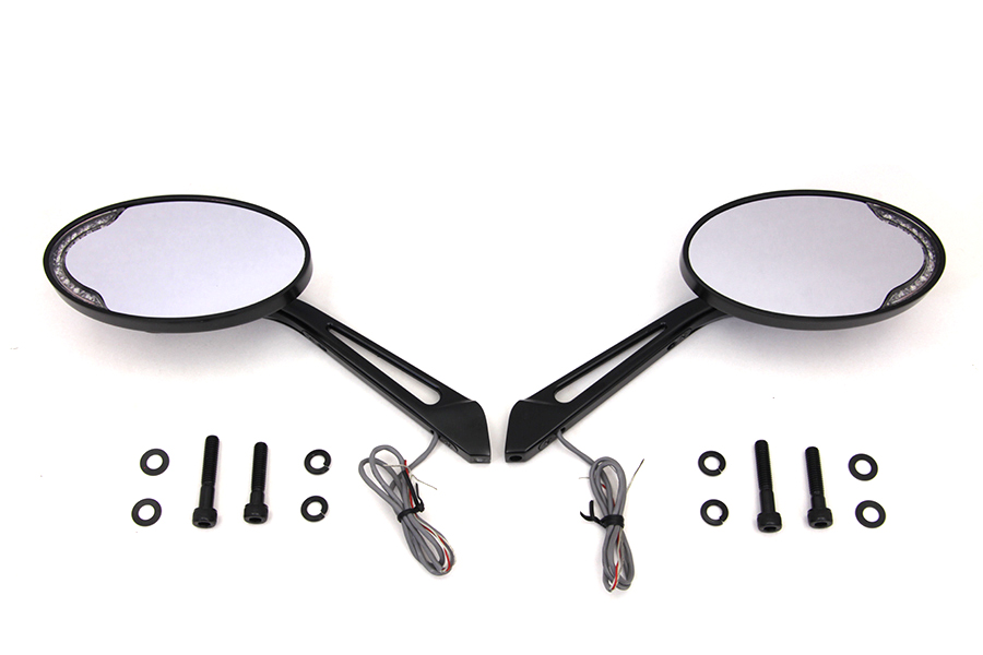 Black Billet Oval LED Turn Signal Mirror Set