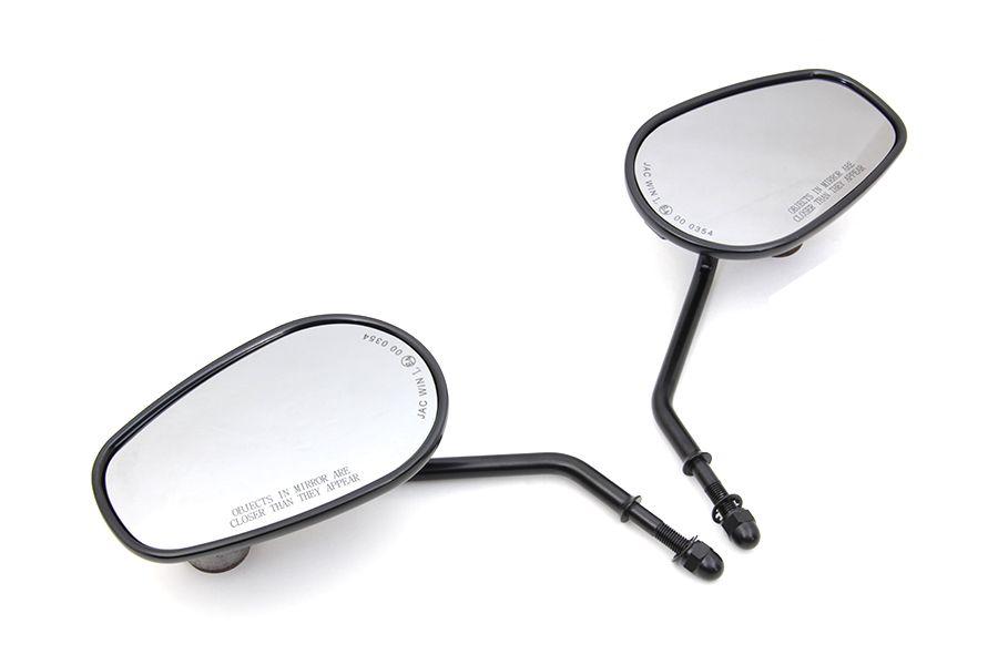 Black Rectangle Mirror Set with Short Round Stems