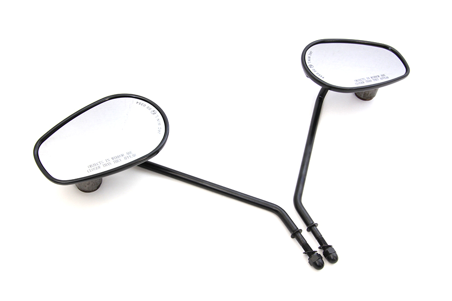 "Black Rectangle Mirror Set with 9"" Round Long Stems"