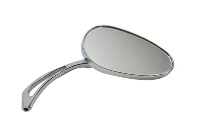 Chrome Oval Mirror with Billet Spear Stems for Harley