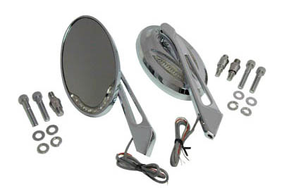 Chrome Billet Mirror Set w/ LED for Harley Custom