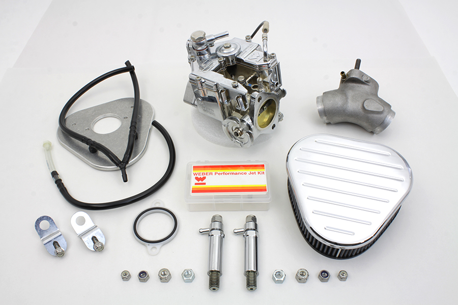 Chrome Weber 80 in. Carburetor Kit for 1984-1998 FX-FL Big Twins