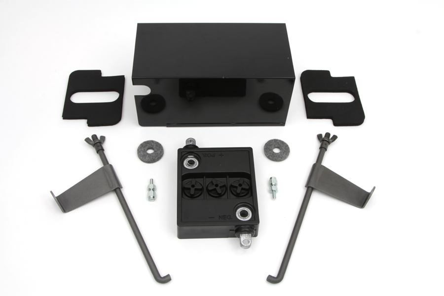 Black 6 Volt Battery Box Kit for Side Valves & Big Twins